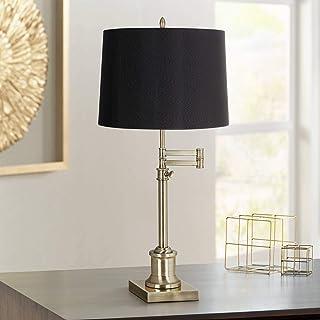 Westbury Swing Arm Desk Table Lamp Adjustable Antique Brass Black Hardback Drum Shade for Living Room Bedroom Bedside Nightstand Office Family - 360 Lighting