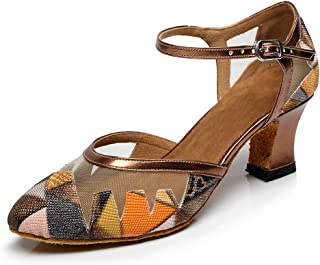 Miyoopark QJ6233 Women's Almond Toe Floral Pleather Ballroom Latin Salsa Tango Dance Shoes