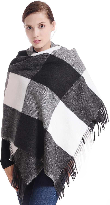 LERDU Women's Gift Box Wrapped Wool Tartan Scarf Winter Pashmina Shawl for Lady