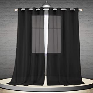 DONREN 96 Inch Sheer Curtain Panels Window Treatments Semi Voile Panels with Eyelet Top for Living Room 1 Pair W 52 x L 96 Jet Black