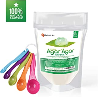 LIVING JIN Agar Agar Powder 4oz and 5-Piece Measuring Spoon Set : Vegetable Gelatin Powder Dietary Fiber [100% Natural seaweed + Non GMO + VEGAN + VEGETARIAN + KOSHER + HALAL]