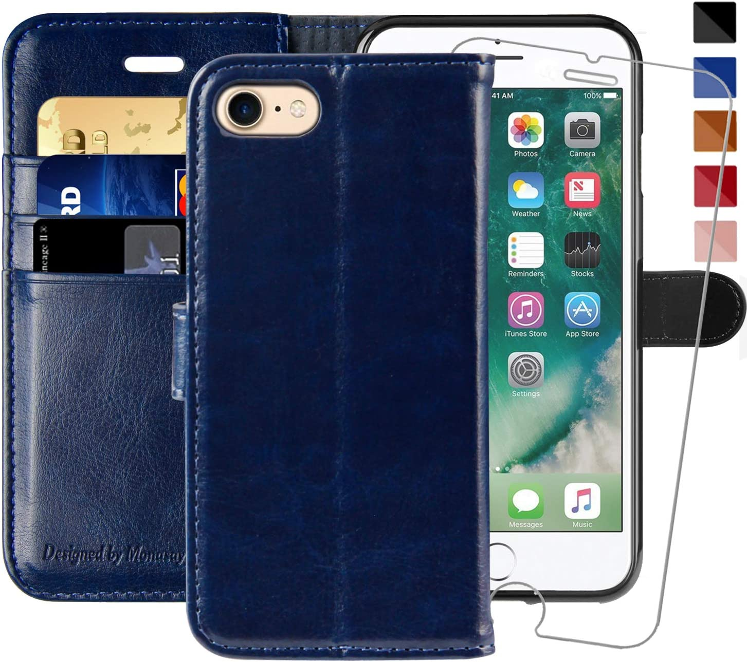 iPhone 6 Wallet Case/iPhone 6s Wallet Case,4.7-inch, MONASAY [Glass Screen Protector Included] Flip Folio Leather Cell Phone Cover with Credit Card Holder for Apple iPhone 6/6S (Blue)