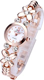 Fashion Womens Girls Crystal Accented Flower Design Rose Gold Metal Luxury Bracelet Watch