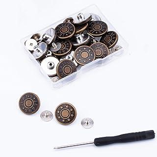 AIEX 20 Pcs 17mm Jean Buttons Replacement No Sew Removable Metal Jeans Buttons for Denim Clothing Jeans Pants Bags(Bronze,...