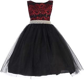 c19418fb949 Ellie Kids Big Girls Red Black Pearl Taffeta Christmas Flower Girl Dress 8 -12