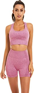 Toplook Women Seamless Yoga Workout Set 2 Piece Outfits Gym Shorts Sports Bra