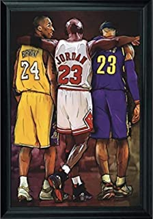 NBA Legends Lebron James, Michael Jordan & Kobe Bryant Wall Art Decor Framed Print | 24x36 Premium (Canvas/Painting Like) Textured Poster | Basketball Fan Memorabilia Gifts for Guys & Girls Bedroom