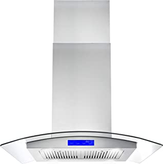 Cosmo COS-668ICS750 30-in Island Range Hood 900-CFM, Ceiling Mount Chimney-Style Over Stove Vent with Light, Permanent Filter, 3 Speed Exhaust Fan Timer, Duct Convertible to Ductless (Stainless Steel)