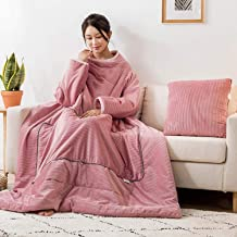Lazy Quilt Blanket with Sleeves, Multifunction Wearable Throw Blanket, Polyester TV Blanket for Couch, Sofa Home Nap,Pink,...