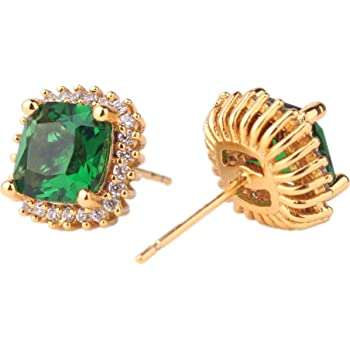 ODETOJOY 1 Pair Simulated Emerald Earrings 18K Gold Stud Earring for Women Real Gold Crsystal Sqaure Zircon Fashion Earring with Gift Box