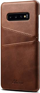 S10p S10Plus S10+ Case Leather Samsung Galaxy,Slim Fit Cover Protective Brown Back Credit Card Holder Men Women Girl Boy Shell