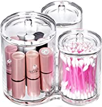 iLory 3pc Clear Acrylic Cotton Ball & Swab Holder Organizer Makeup Cosmetics Pads Q-tip Storage Container Box Case