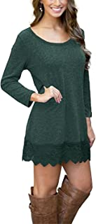 MRstriver Women's Long Sleeve A-line Lace Stitching Trim Casual Dress