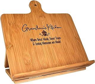 Grandma Recipe Cookbook Holder Stand Gift - Custom Engraved Bamboo Cutting Board Foldable Chef Easel Metal Hinges Kickstan...