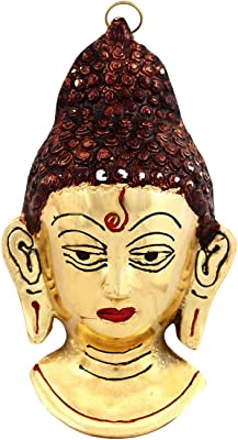 Handicrafts Paradise Lord Buddha Wall Hanging in Metal 8 Inches