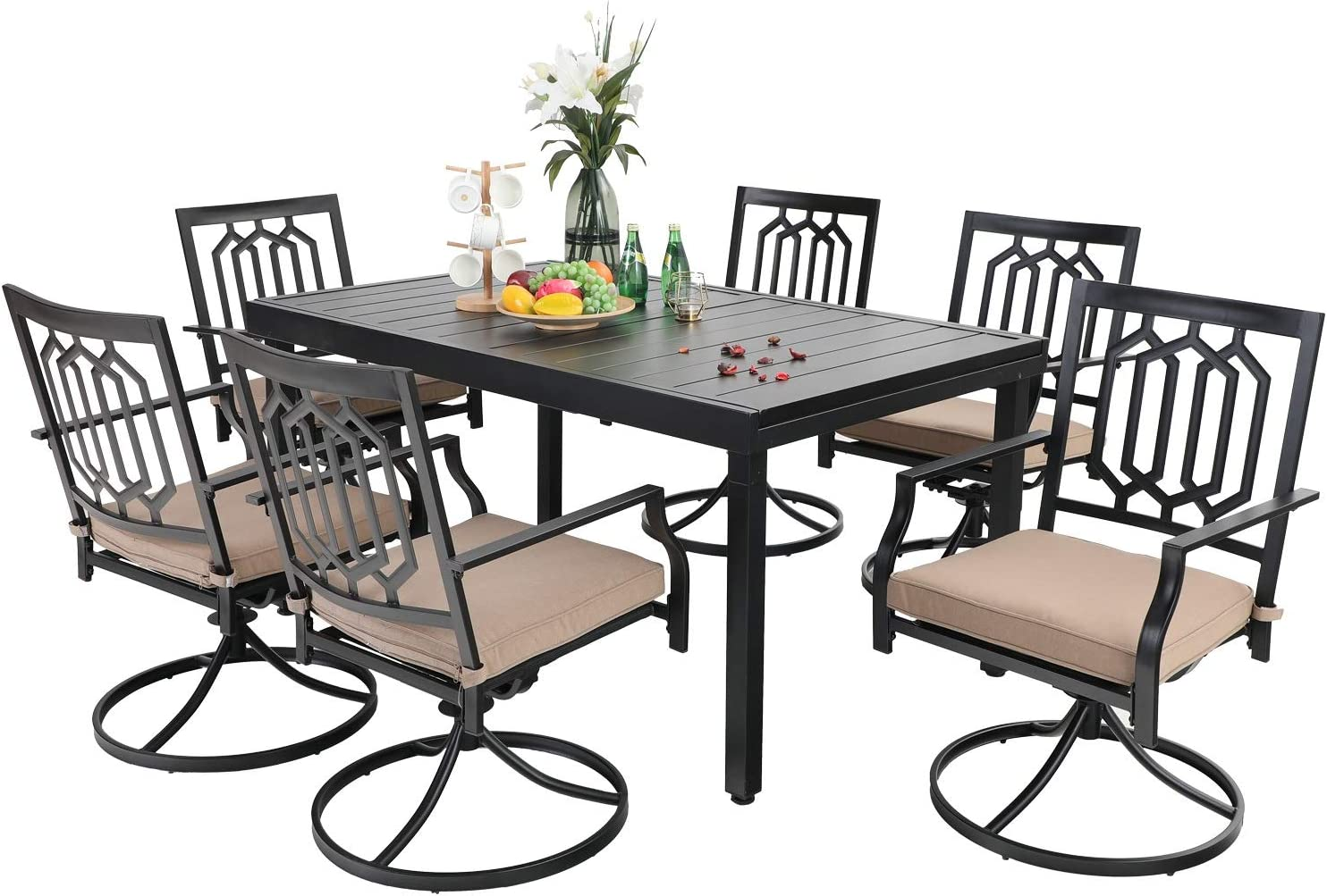 Buy PHI VILLA 100 Piece Patio Dining Set,10 Extendable Dining Table ...