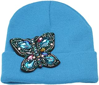 Womens Beaded Butterfly Cuffed Beanie