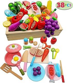 木玩社(きがんしゃ)のままごと38pcsセット 知育玩具 天然木 お肉&お魚&果物&食器セット 積み木 組み立て 切る遊び 木製おもちゃ 食器ボックス プレゼント ギフト