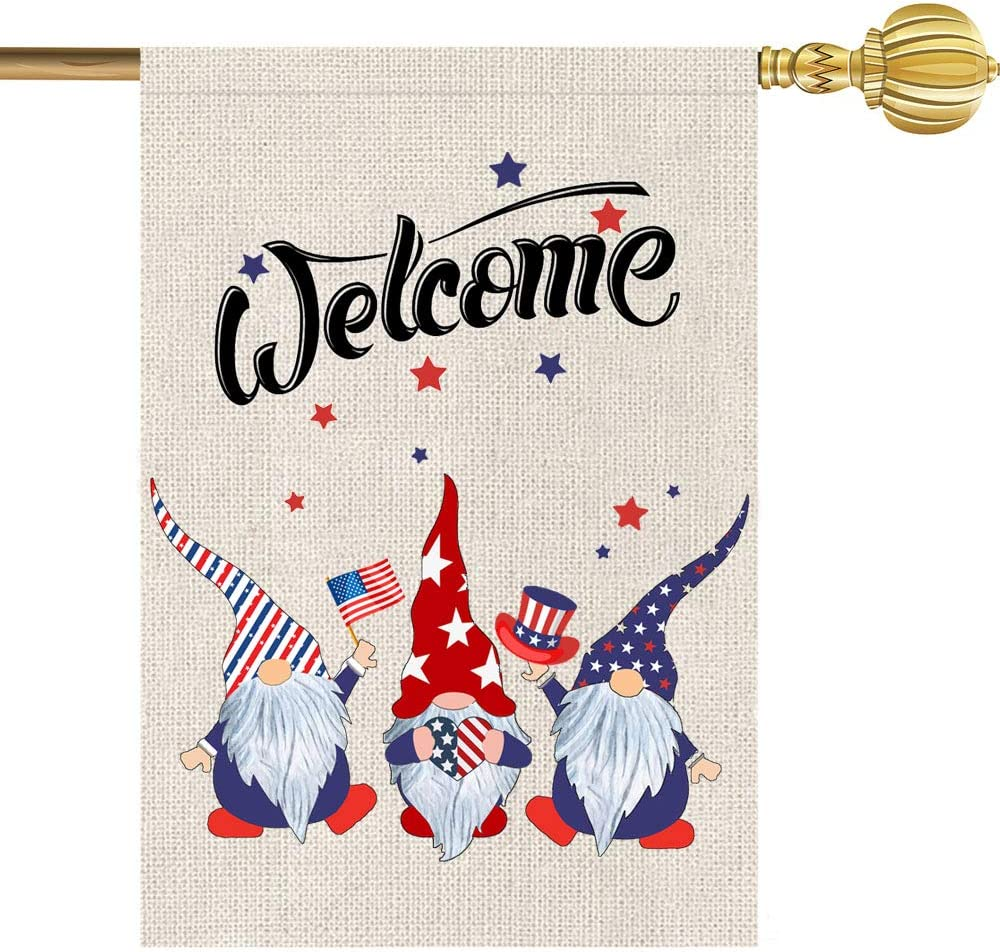 Independence Day Garden Flag - American Patriotic Garden Flag Double Sided,4th of July Patriotic Memorial Day Independence Day Yard Outdoor Decoration Decoration Burlap Flags 12.5 x 18 Inch