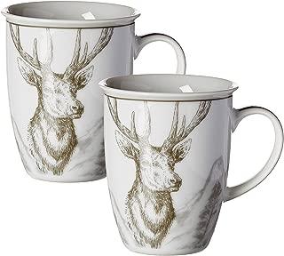 Ritzenhoff & Breker Coffee Cup Set Hubertus with Deer Decor, 2Pieces, 320ml, Porcelain, Grey, 9cm x 9cm x 10cm 2Units