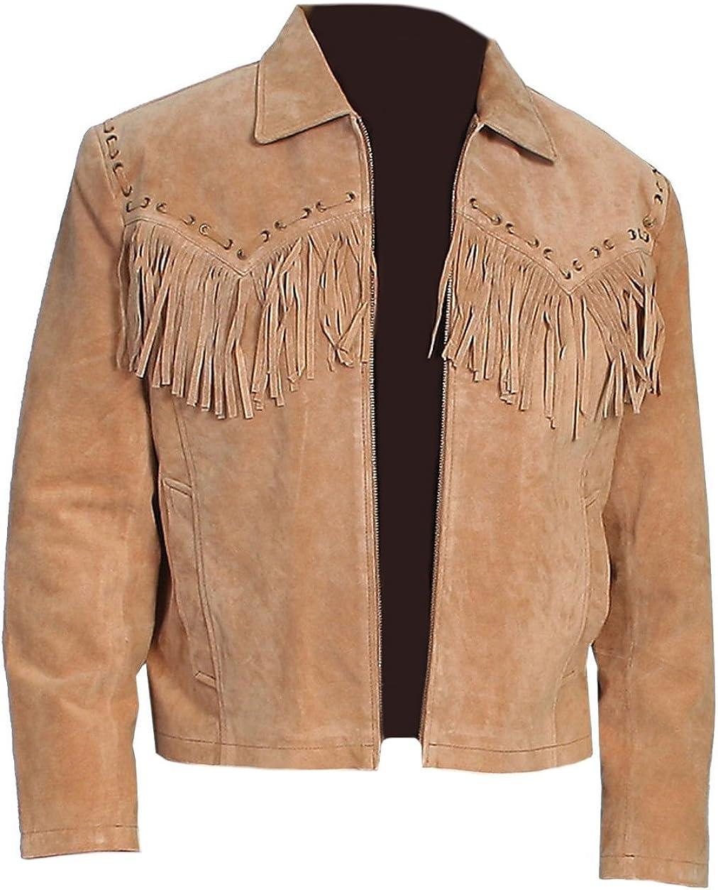 Classyak Men's Western Cowboy Suede Leather Jacket Brown