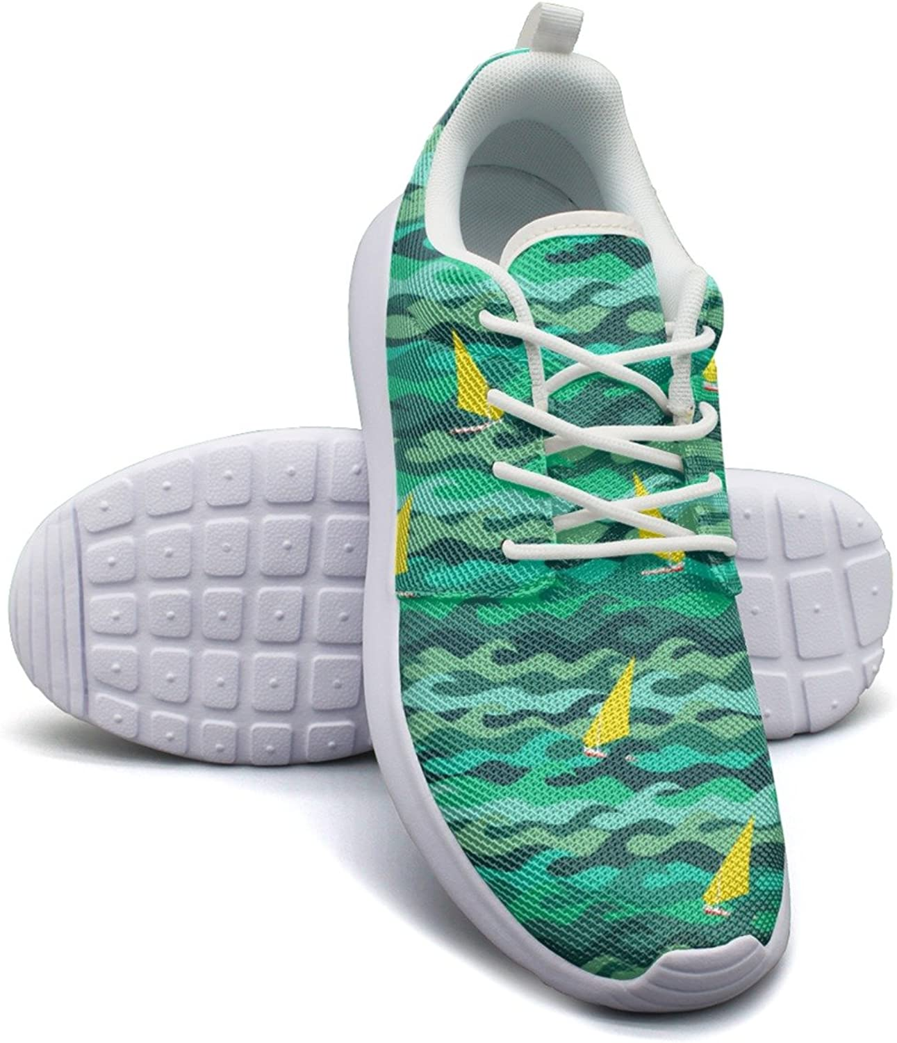 Made Of Sea Waves And Yachts Women's Fashion Sneakers shoes Retro Mesh Lightweight Athletic Sneakers