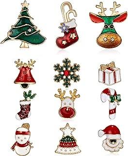 12 Pcs Lapel Brooch Pins Sets for Women Men Enamel Christmas Brooch Pin Elk Brooch Santa Socks Brooch Santa Brooch Christmas Snowman Candy Cane Brooch Pins Gift
