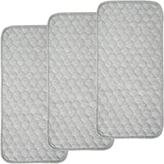 BlueSnail Bamboo Rayon Quilted Thicker Longer Waterproof Changing Pad Liners for Babies 3 Count (Gray)