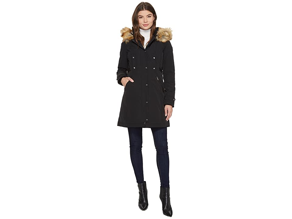 Vince Camuto Faux Fur Hooded Down with Cinch Waist N1721 (Black) Women