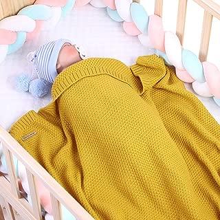 Owlike Infant Baby Boys Girl Blanket Toddler Knitted Crochet Throw Blanket Newborn Stroller Swaddle Blanket-Mustard