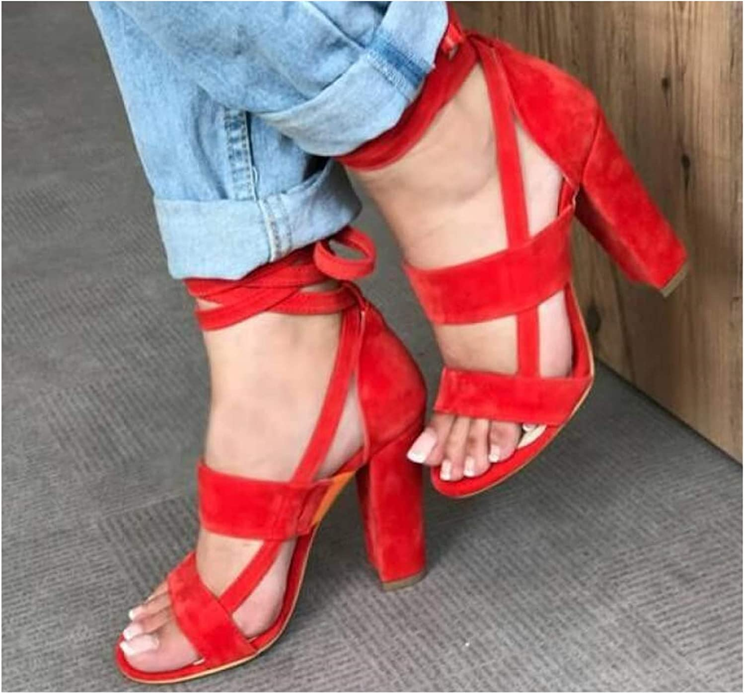 Sizhangdd Summer shoes Woman Sandals High Heel Gladiator Cross-Tied Lace-Up Casual Ankle Strap Flock