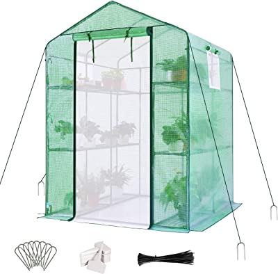 "Quictent Greenhouse Screen Door 3 Windows 3 Tiers 12 Shelves 56"" W x 56"" D x 77"" H Walk in Outdoor Portable Plant Garden Green House 50 T-Type Plant Tags 10 Stakes 4 Ropes Include (Green)"