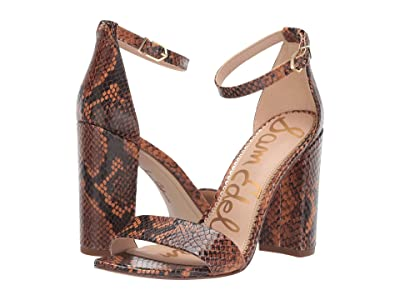 Sam Edelman Yaro Ankle Strap Sandal Heel (Dusty Orange Tropical Snake Print Leather) Women