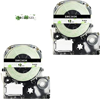 Epson Labelworks Tape, LaBold 2 Pack Unique Design Washi Label tape Cartoon Style Compatible with Epson LW-300 LW-400 LW-500 LW-600 Label Maker Tape Black on Four Leaf Clover 0.47