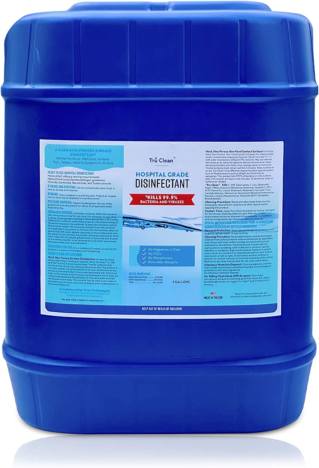 New Five Gallon Tru Clean Grade Hospital Free shipping Very popular! anywhere in the nation registered EPA Disinfec