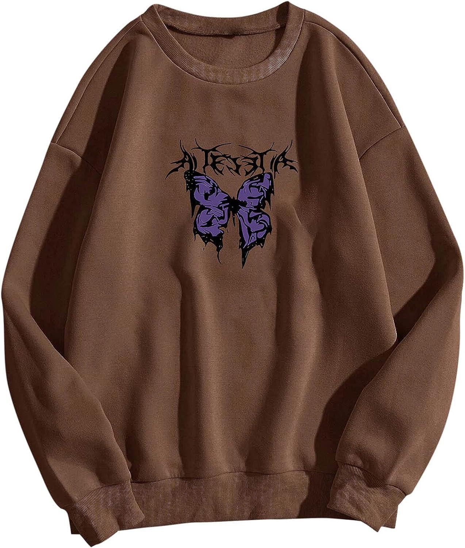 Women Long 2021 model Sleeve Sweatshirt Fashion Indefinitely O Printing Butterfly Casual