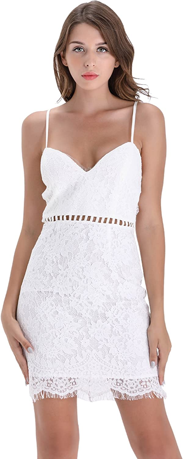 BARGOOS Women Summer Cocktail V Neck Sleeveless Hollow Out Slim Lace Sexy Bodycon Mini Party Bridal Dress