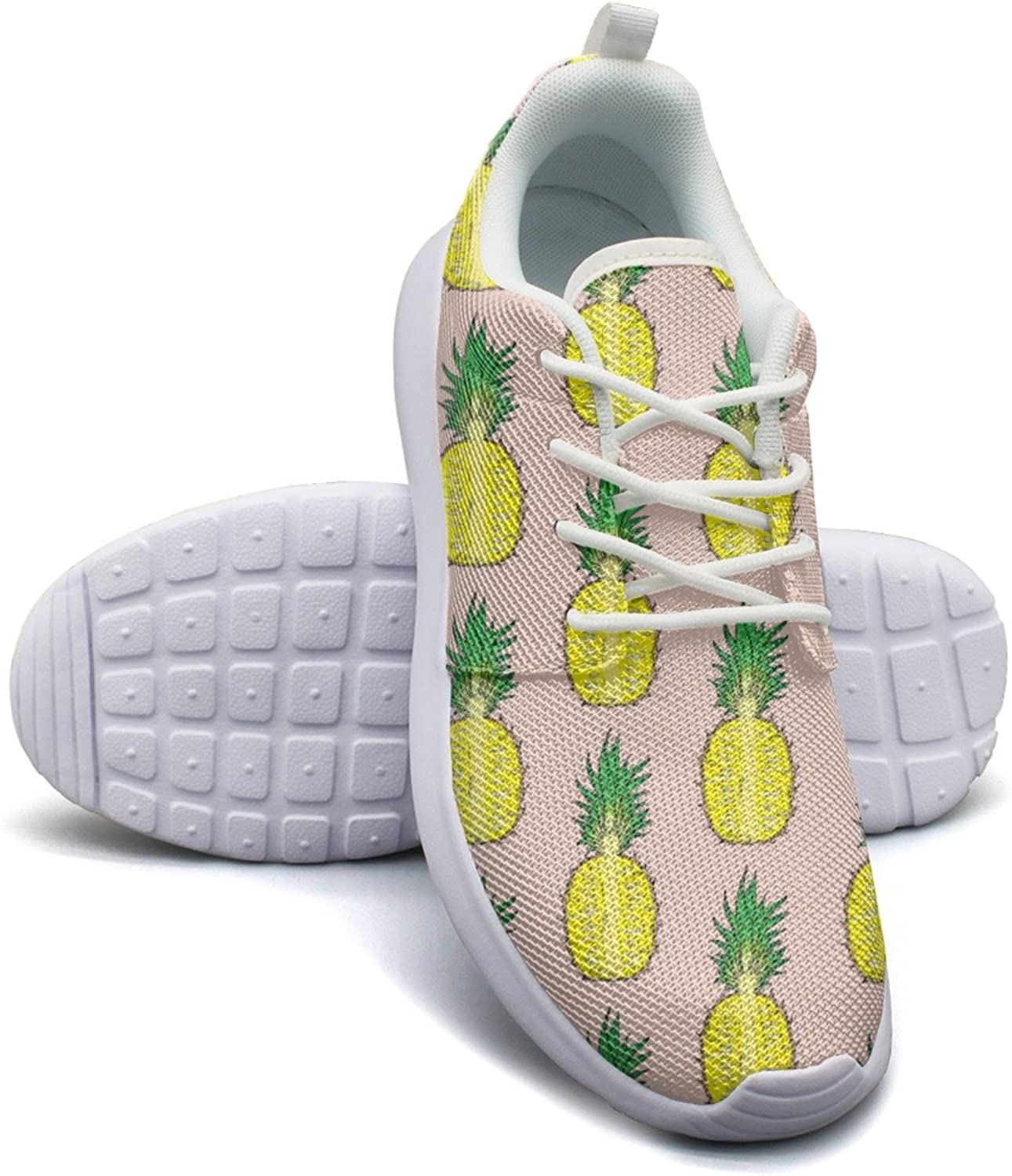 Cut Pineapple On A Pink Background Women's Fashion Tennis shoes Comfortable Mesh Lightweight Athletic Sneakers