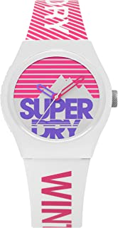 Superdry Urban Ski Analogue White And Pink Dial White And Pink Silicon Watch For Women - SYL255WP