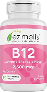 EZ Melts B12 as Methylcobalamin, 2,500 mcg, Sublingual Vitamins, Vegan, Zero Sugar, Natural Cherry Flavor, 90 Fast Dissolve Tablets