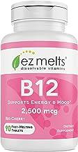 EZ Melts B12 as Methylcobalamin, 2,500 mcg, Sublingual Vitamins, Vegan, Zero Sugar, Natural Cherry Flavor, 90 Fast Dissolv...