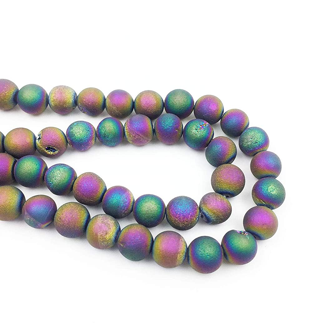 favoramulet Rainbow Titanium Coated 8mm Crystal Geode Agate Quartz Loose Beads Strand for Jewelry Making 14