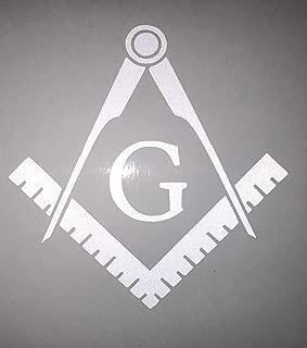 Masonic Series Freemason Compass Square Decal Sticker | Reflective White | 3