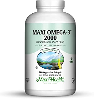 Maxi-Health Fish Oil Omega 3– 2000 mg - Natural Source of DHA/EPA Fatty Acids – Healthy Blood Pressure, Heart and Immune Support - 200 Vegetarian Softgel Capsules – Kosher Supplement