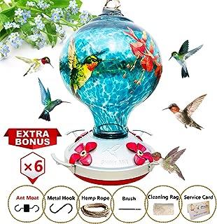 ShinyArt Hummingbird Feeder - Hand Blown Glass - Blue - Hummingbird Floral Printed- 38 Fluid Ounces Nectar Capacity Include Ant Moat, Metal Hook, Hemp Rope, Brush, Cleaning Rag and Service Card