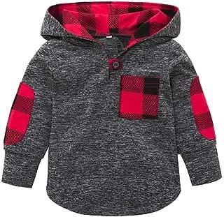 圣诞节幼童男童女童夹克女童男童套装花卉格子口袋连帽外套上衣