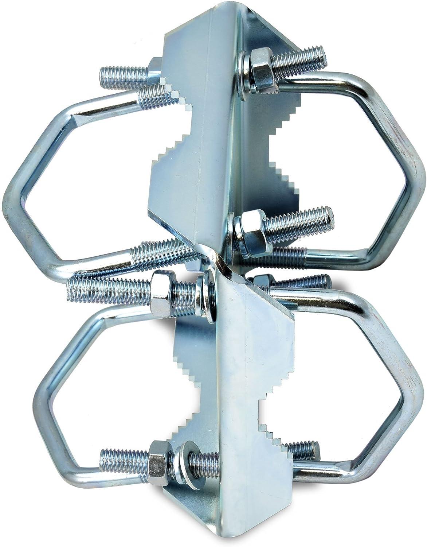 SKT ZTI051 Fijación Abrazadera Cross para asegurar un tubo de mástil a 50 mm galvanizado
