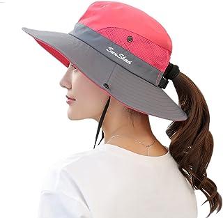 bcaf0102bf8 Muryobao Women s Outdoor UV Protection Foldable Mesh Wide Brim Beach  Fishing Hat
