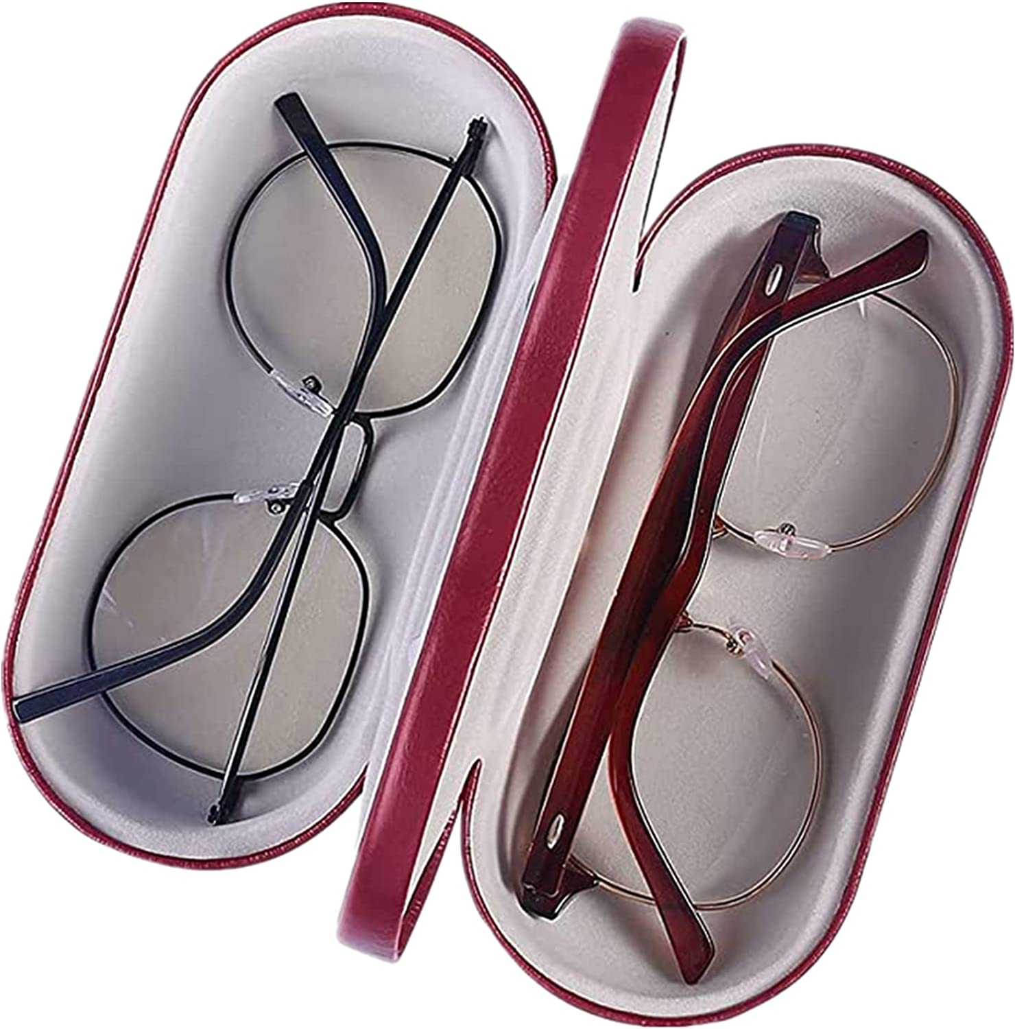2 in 1 EyeGlasses Case, PU Leather Dual glasses Case, Double Layer Hard Shell Protective Cases for Glasses,Built in Mirror,Red Color for Women and Men