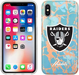 Prime Brands Group Cell Phone Case for Apple iPhone XS/X - Teal/Rose Gold - NFL Licensed Oakland Raiders